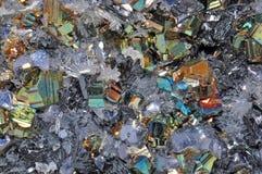 Beau groupe de pyrite Photographie stock