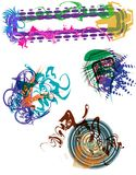 Beau Grunge Elements. Colorful grunge art elements including a banner/header and three splotch shapes on their own vector layers - jpeg and vector version Royalty Free Stock Images