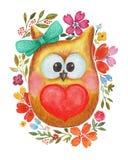 Beau hibou d'aquarelle avec le coeur et les fleurs Photographie stock