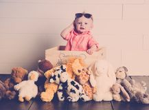 Beau with his Plush Toys royalty free stock image