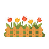 Beau jardin avec différentes fleurs derrière la barrière Illustration plate de vecteur de style Photos libres de droits