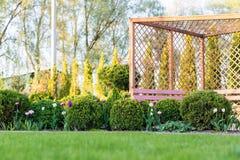 Beau jardin vert avec le pavillon discordant de buissons, de fleur et en bois de buis de frsesh Fond de jardinage d'été scénique photo stock