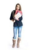 Beau jeune étudiant de brunette. images libres de droits