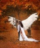 Beau, jeune elfe, marchant avec une licorne Elle porte une lumière incroyable, robe blanche La fille se trouve sur le cheval Arti photo libre de droits