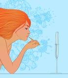 Beau jeune femme appliquant le lustre de languette illustration de vecteur