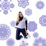 Beau jeune femme avec des patins photos stock