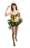 Beau jeune femme avec la fleur et le guindineau. Images stock