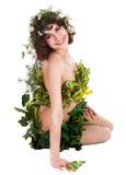 Beau jeune femme avec la fleur et le guindineau. Images libres de droits