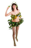 Beau jeune femme avec la fleur et le guindineau. Image stock