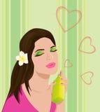 Beau jeune femme avec le parfum illustration stock