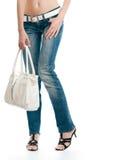 Beau jeune femme avec le sac Photographie stock
