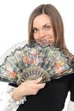 Beau jeune femme avec le ventilateur Images libres de droits