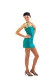 Beau jeune femme dans la robe bleue Photos libres de droits