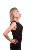 Beau jeune femme dans les dres noirs images stock