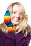 Beau jeune femme dans les gants colorés Photos stock