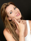 Beau jeune femme heureux pensif Images libres de droits