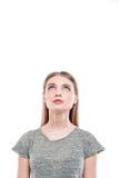 Beau jeune femme sur le fond blanc Photo libre de droits