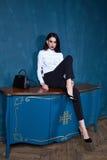 Beau jeune luxe sexy de cheveux de brune de femme d'affaires chic photographie stock libre de droits