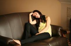 Beau jeune modèle femelle triste image libre de droits