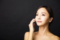 beau jeune visage asiatique de femme Image libre de droits