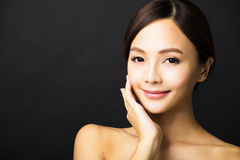 beau jeune visage asiatique de femme Photo libre de droits