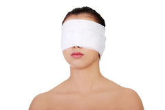 Beau jeune visage femelle avec le bandage Photographie stock libre de droits