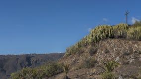 Beau jour ensoleillé à la La Centinela de Mirador, vue vers la croix en bois, Ténérife, Îles Canaries, Espagne Image libre de droits