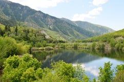 Beau lac de montagne au printemps image stock