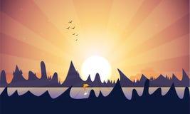 Beau lac en montagnes illustration libre de droits