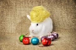 Beau lapin de Pâques propre blanc à côté d'un panier en osier avec des oeufs dans le tissu naturel de toile de jute de krashenyym Image stock