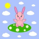 Beau lapin rose-clair simple Image stock