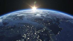 Beau lever de soleil au-dessus de la terre Villes la nuit HD 1080 illustration libre de droits