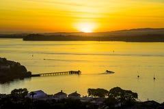 Beau lever de soleil au-dessus du Golfe de Hauraki Images libres de droits