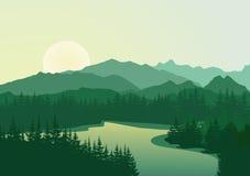 Beau lever de soleil au lac de montagne Illustration de Vecteur