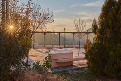 Beau lever de soleil au point de vue de Corralillo De San Miguel l'Espagne toledo Images stock