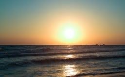 Beau lever de soleil en île de Zakynthos Images libres de droits