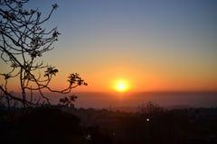 Beau lever de soleil en colline française de Jérusalem vers le désert ISRAËL de Judean image libre de droits