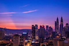 Beau lever de soleil de Kuala Lumpur image libre de droits
