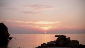 Beau lever de soleil rose de coucher du soleil sur la mer, calme complet, mouettes de vol banque de vidéos