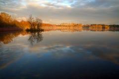 Beau lever de soleil sur la lagune Images libres de droits