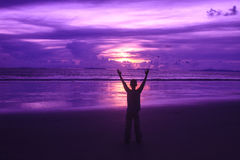 Beau lever de soleil sur la mer tropicale image libre de droits