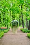Beau lit de fleur sur un piédestal dans le jardin de Neskuchny, un des parcs publics de les plus populaires à Moscou photographie stock libre de droits