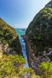 Beau littoral de cap de Hyuga à Miyazaki, Kyushu image libre de droits