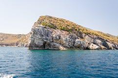 Beau littoral sauvage à la réservation naturelle de Zingaro, Sicile Photos libres de droits