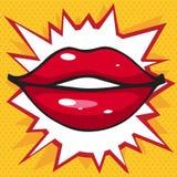 Beau lustre de lèvre de sourire sur un fond jaune lumineux Photographie stock libre de droits