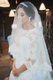 Beau maquillage de mariage de portrait de jeune mariée, coiffure photo libre de droits