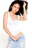 Beau modèle bronzé d'Asiatique de peau photos stock