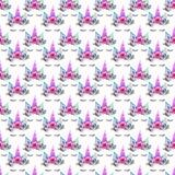 Beau modèle coloré magique féerique mignon de beau ressort lumineux des licornes avec des cils dans l'aquarelle florale de couron Photographie stock