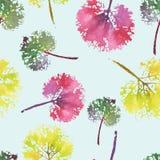 Beau modèle d'aquarelle des feuilles Fait main peint belle empreinte sans couture de fond de texture Photo libre de droits