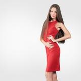 Beau modèle dans la robe rouge Image libre de droits